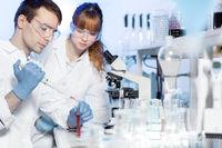 Health care students working in scientific laboratory.
