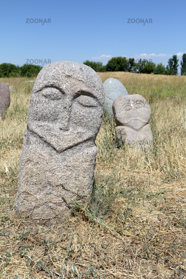 Medieval stone sculptures (Balbals) at Burana Tower, Tokmak, Kyrgyzstan