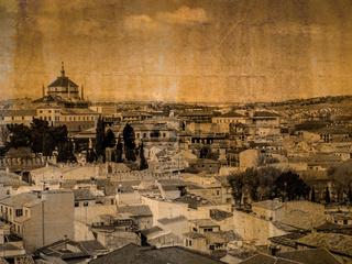 Postkarte der Stadt Toledo, Spanien, im vintage look