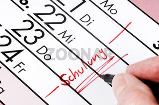 Schulung - Eintrag im Kalender