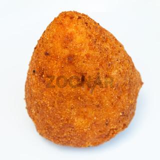 one meat stuffed rice ball arancini on plate