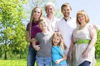 Portrait of extended family in park