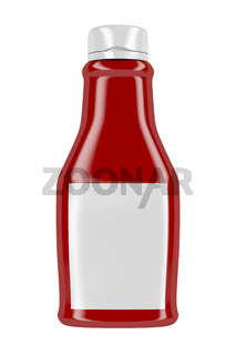 Ketchup bottle with blank label