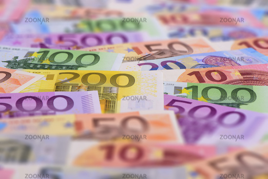 many banknotes of euro currency