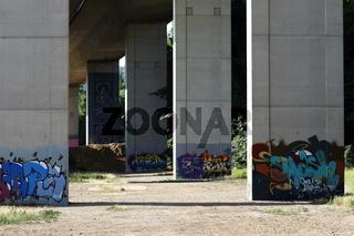 Wall with graffiti in Loerrach, motorway bridge pier A98 in July 2016
