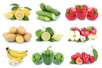 Obst und Gemüse Früchte Apfel Bananen Zitrone Kartoffeln Farben Collage Freisteller freigestellt isoliert