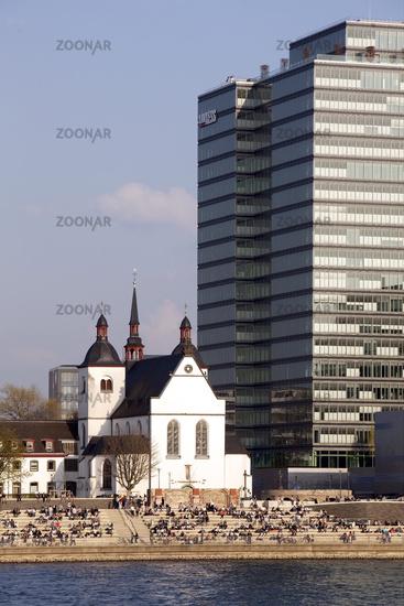 Alt St. Heribert with Lanxess building, Cologne, Rhineland, North Rhine-Westphalia, Germany, Europe