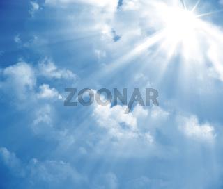 blue sky sun ray