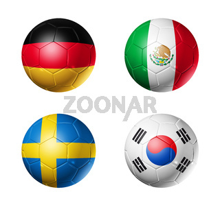 Russia football 2018 group F flags on soccer balls
