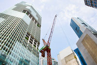 Singapore downtown construction site activity