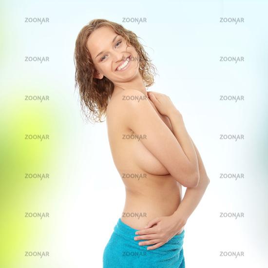 Beautiful topless caucasian woman