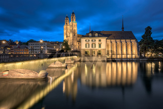 Grossmunster Church and Limmat River in the Evening, Zurich, Switzerland