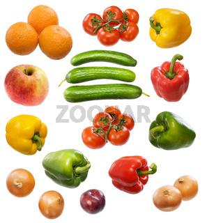 Tomato, orange, apple, onion, cucumber, plum and paprika