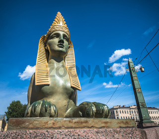 Sphinx of Egyptian bridge over the Fontanka river, Saint Petersburg, Russia