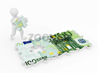 Men with euro from parts of puzzle. 3d