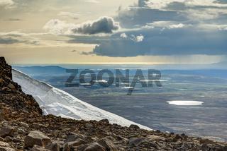 View from Ok Vulcano to tundra lakes and Atlantic. Iceland.