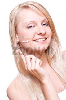 beautiful woman with cream