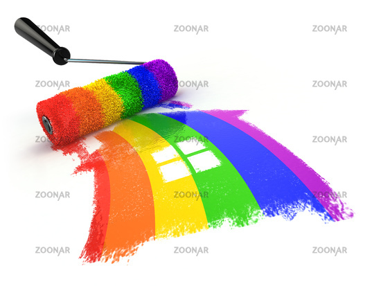 House with colors of gay pride LGBT community. Homosexual relationships or gay love concept.