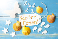 Sunny Summer Greeting Card With Schoene Ferien Means Happy Holidays