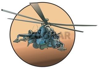 Cartoon Militärhubschrauber