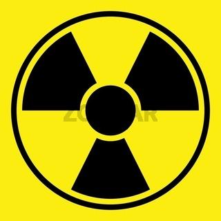 Round radiation warning sign on yellow background