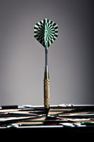 Vertical View Of An Arrow That Hit The Darts Board Center