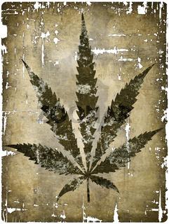 hanfblatt auf grunge hintergrund - illustration