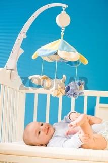 Baby on crib