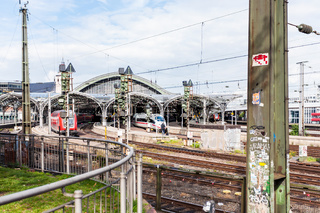 trains in Main railway station in Cologne