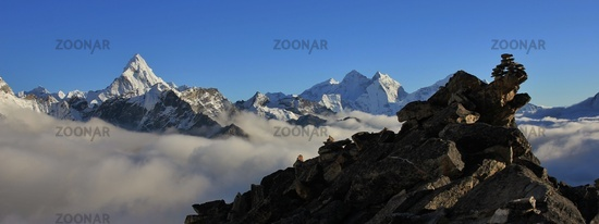 Mount Ama Dablam and Thamserku