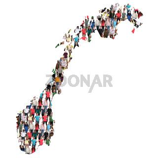 Norwegen Karte Leute Menschen People Gruppe Menschengruppe multikulturell