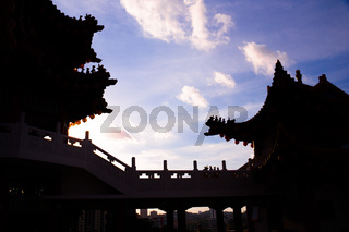 Silhouette of Chinese temple