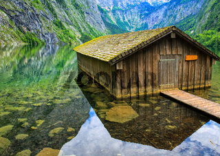 Fisherman's house on Konigsee lake in the Alps mountains, Germany