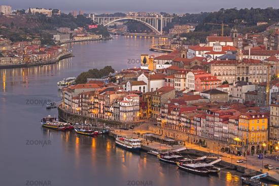 Douro river and the historic centre of Ribeira, Porto, Unesco World Heritage Site, Portugal, Europe
