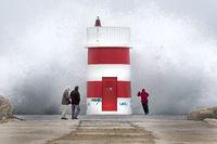 Lighthouse at storm, Porto de Abrigo da Nazare, Port, Nazare, Oeste, Leiria District, Portugal, Euro