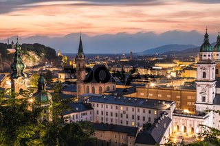 Panoramic view of beautiful city of Salzburg in Austria