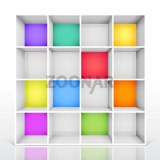 3d isolated Empty colorful bookshelf