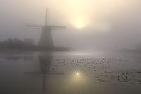 Historic windmill with fog, UNESCO World Heritage Site, Kinderdijk, South Holland, Netherlands, Euro