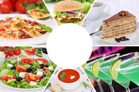 Sammlung Collage Essen und trinken Karte Speisekarte Gerichte Getränke Restaurant