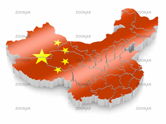 Map of China in Chinese flag colors. 3d