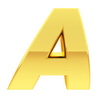 Gold alphabet symbol letter A with gradient reflections isolated on white. High resolution 3D image