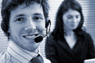 Operators talking on headset