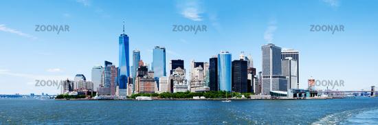 Panorama New York City Manhattan Skyline and Freedom Tower