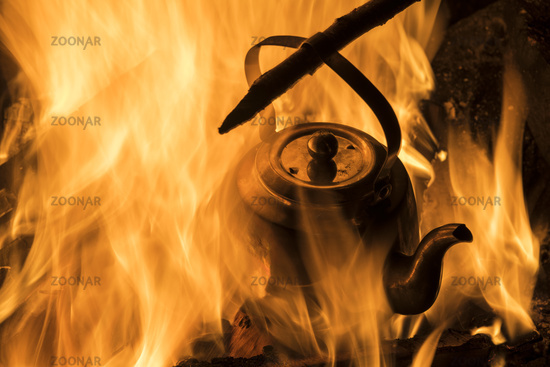 Kettle in a campfire, Lapland, Sweden