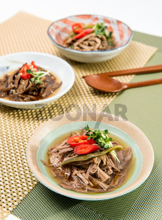 Korean food, Jangjorim, beef boiled down in soy sauce