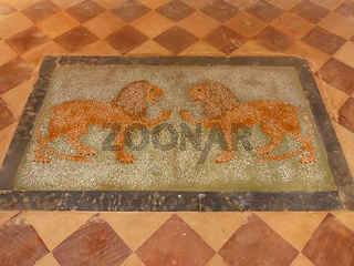 Colorful painting on the floor of Royal cenotaphs in Jaipur, Rajasthan, India