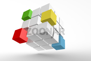 3d illustration magic cube