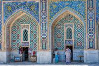 Shops in atrium of Registan, Samarkand, Uzbekistan