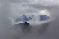 Mountain group with clouds, Hohe Tauern mountain range, Austria, Europe
