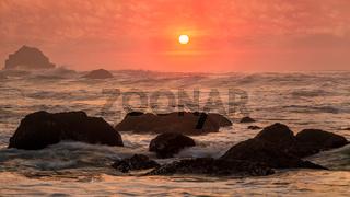 Rocky Beach Landscape at Sunset